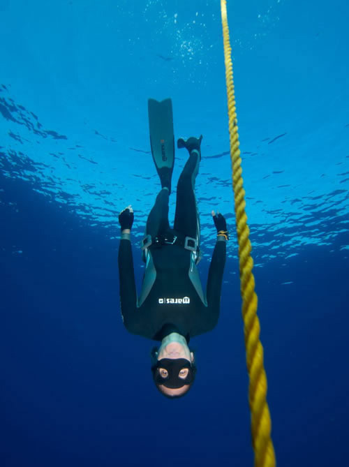 Freediving training at El Mar Diving Center in Mesa Arizona